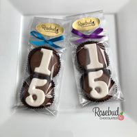 8 Pairs NUMBER FIFTEEN #15 Chocolate Covered Oreo Cookie Candy Party Favors 15th Birthday