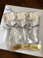 12 NUMBER FIFTEEN #15 Chocolate Lollipop Candy Party Favors 15th Birthday