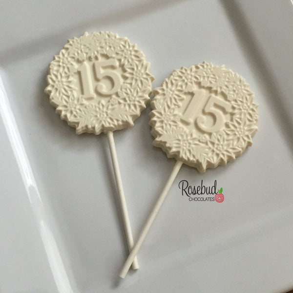 12 NUMBER FIFTEEN #15 Chocolate Floral Lollipop Candy Party Favors 15th Birthday