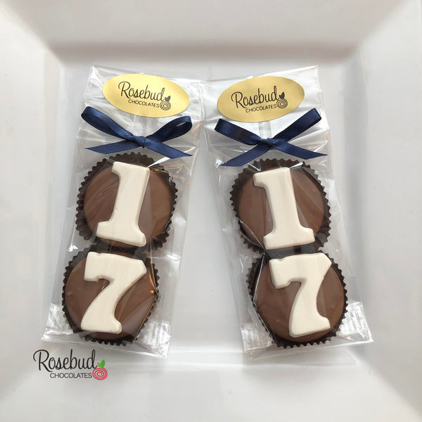 8 Pairs NUMBER SEVENTEEN #17 Chocolate Covered Oreo Cookie Candy Party Favors 17th Birthday
