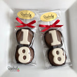 8 Pairs NUMBER EIGHTEEN #18 Chocolate Covered Oreo Cookie Candy Party Favors 18th Birthday