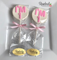 "12 NUMBER ONE ""I'm 1"" Chocolate Lollipop Candy Party Favors 1st Birthday #1"
