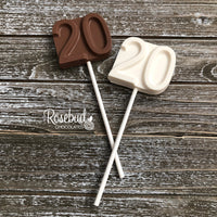 12 NUMBER TWENTY #20 Chocolate Lollipop Candy Party Favors 20th Birthday