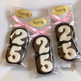 8 Pairs NUMBER TWENTY FIVE #25 Chocolate Covered Oreo Cookie Candy Party Favors 25th Birthday