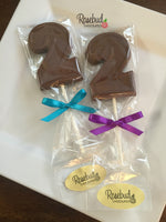 12 NUMBER TWO #2 Chocolate Lollipop Candy Party Favors 2nd Birthday