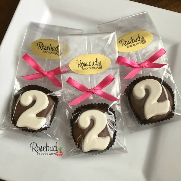 12 NUMBER TWO #2 Chocolate Covered Oreo Cookie Candy Party Favors 2nd Birthday