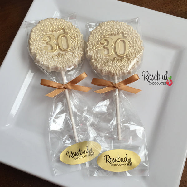 10 NUMBER THIRTY #30 Chocolate Decorative Floral GOLD DUSTED Lollipop Party Favors 30th Birthday Anniversary