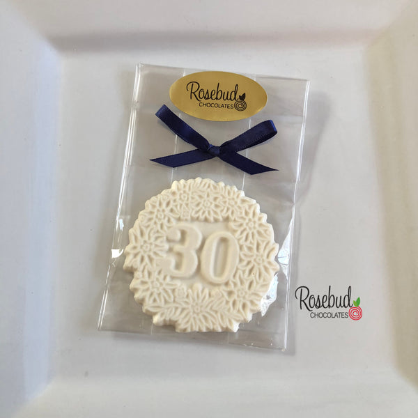 10 NUMBER THIRTY #30 Chocolate Decorative Floral Candy Party Favors 30th Birthday Anniversary
