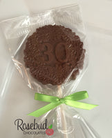 10 NUMBER THIRTY #30 Chocolate Decorative Floral Lollipop Party Favors 30th Birthday