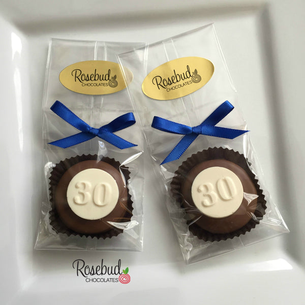 12 NUMBER THIRTY #30 Chocolate Covered Oreo Cookie Candy Party Favors 30th Birthday