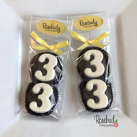 8 Pairs NUMBER THIRTY-THREE #33 Chocolate Covered Oreo Cookie Candy Party Favors Birthday