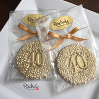 10 NUMBER FORTY #40 White Chocolate Gold Dusted Decorative Floral Party Favors 40th Birthday Anniversary
