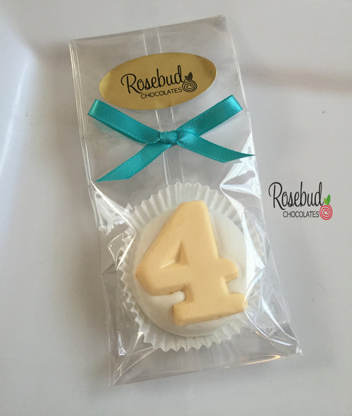 12 NUMBER FOUR #4 Chocolate Covered Oreo Cookie Candy Party Favors 4th Birthday