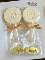 10 NUMBER FIFTY #50 Chocolate Decorative FLORAL Lollipop Candy Favors 50th Birthday Anniversary Party