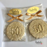 10 NUMBER FIFTY #50 White Chocolate Gold Dusted Floral Candy Party Favors 50th Birthday Anniversary