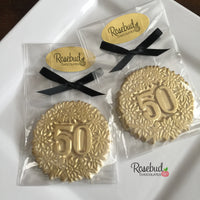 8 NUMBER FIFTY #50 White Chocolate Gold Dusted Floral Candy Party Favors 50th Birthday Anniversary