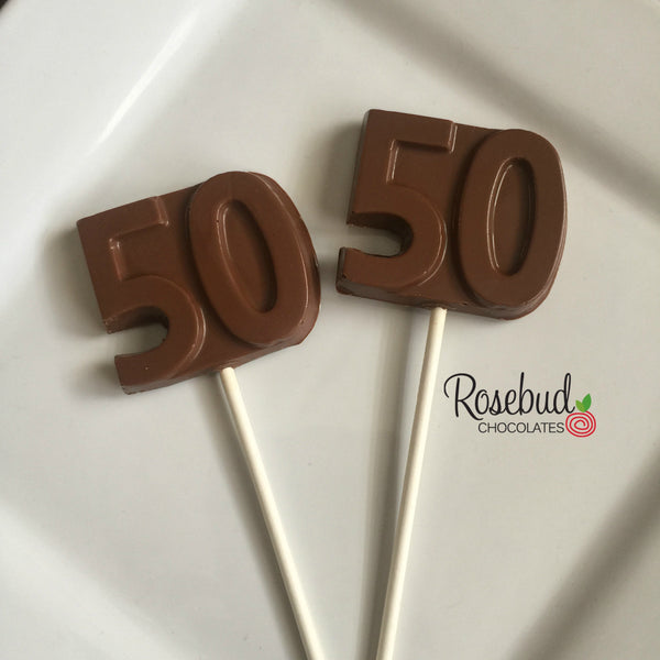 12 NUMBER FIFTY #50 Chocolate Lollipop Candy Party Favors 50th Birthday Anniversary