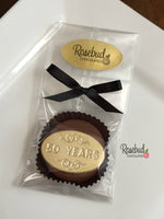 "12 NUMBER FIFTY ""50 Years"" Chocolate Covered Oreo Cookie Candy Party Favors Gold Dusted #50 Birthday Anniversary"