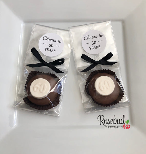 "12 ""CHEERS to 60 YEARS"" #60 Chocolate Covered Oreo Cookie 60th Party Favors White Round Label"