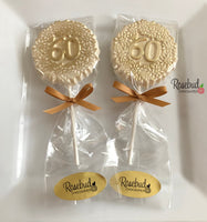10 NUMBER SIXTY #60 Chocolate Decorative Floral Gold Dusted Lollipop Party Favors 60th Birthday