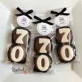 "8 Pairs ""Happy 70th Birthday"" #70 Chocolate Covered Oreo Cookie Party Favors with Tag"