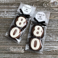 "8 Pairs ""CHEERS TO 80 YEARS"" #80 Chocolate Covered Oreo Cookies 80th Birthday Party Favors Numbers Round Sticker Label"