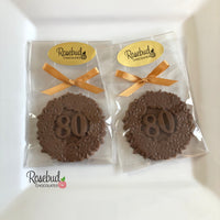 12 NUMBER EIGHTY #80 Chocolate Floral Candy Party Favors 80th Birthday
