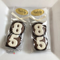 8 Pairs NUMBER EIGHTY-FIVE #85 Chocolate Covered Oreo Cookie Candy Party Favors 85th Birthday