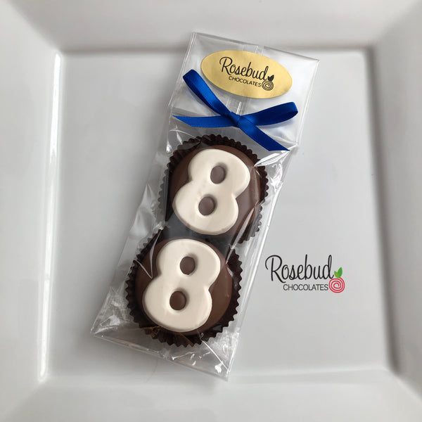 8 Pairs NUMBER EIGHTY-EIGHT #88 Chocolate Covered Oreo Cookie 88th Birthday Candy Party Favors