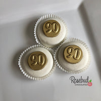 12 NUMBER NINETY #90 Chocolate Covered Oreo Cookie Candy Party Favors 90th Birthday