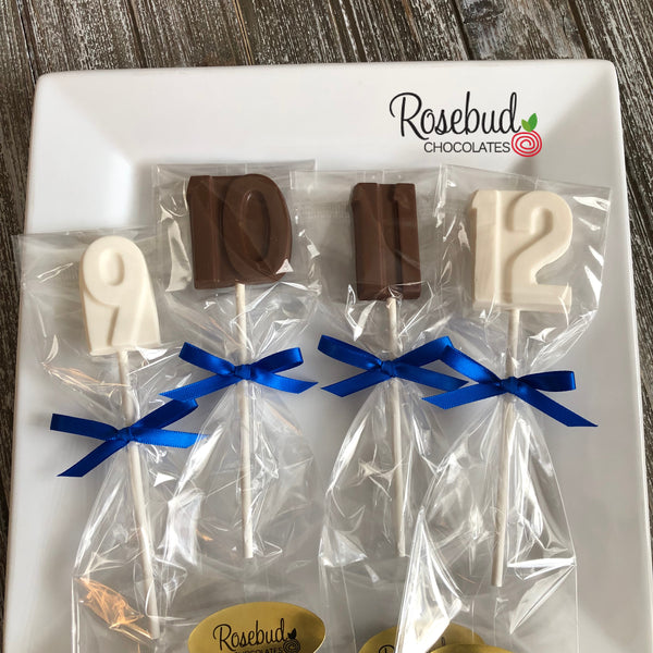 12 Assorted NUMBERS Chocolate Lollipops 9th 10th 11th 12th Birthday Party Anniversary Favors