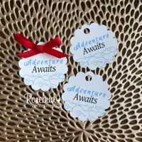 "FAVOR TAG ""Adventure Awaits"" White Cardstock Party Favor Tags"