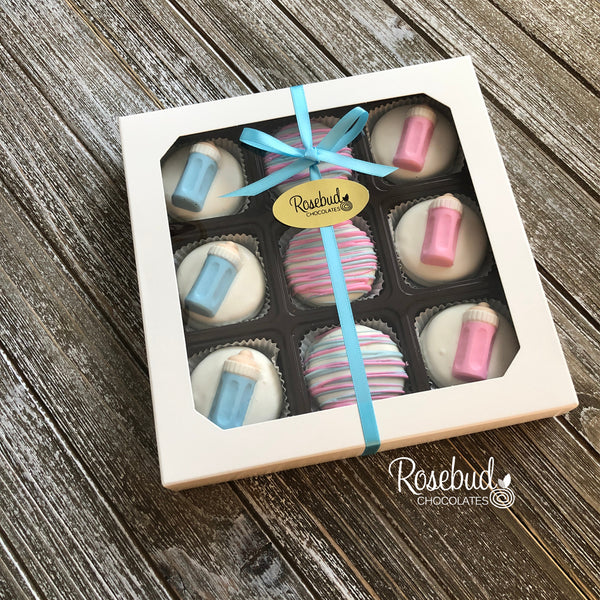 BABY BOTTLE - Chocolate Covered Oreo Cookies - 9 Piece White Gift Box