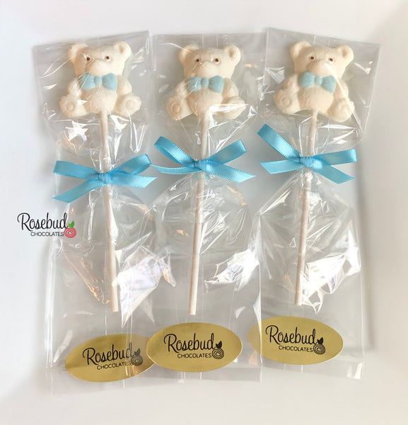 12 TEDDY BEAR BOW TIE Chocolate Lollipops Candy Birthday Baby Shower Party Favors