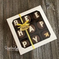 """BEE HAPPY"" - Chocolate Covered Oreo Cookies BUMBLE BEE - 9 Piece White Gift Box"