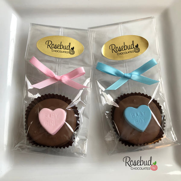 "12 ""BABY GIRL"" or ""BABY BOY"" Hearts Chocolate Covered Oreo Cookie Baby Shower Party Favors"