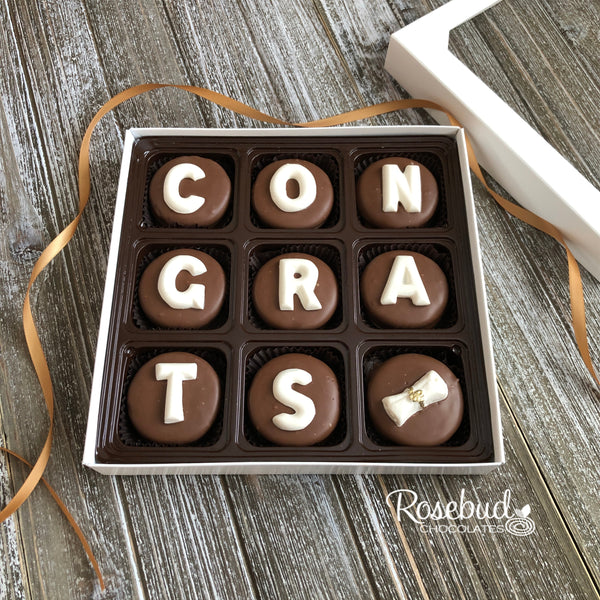 """CONGRATS"" - Chocolate Covered Oreo Cookies DIPLOMA - Graduation 9 Piece White Gift Box"