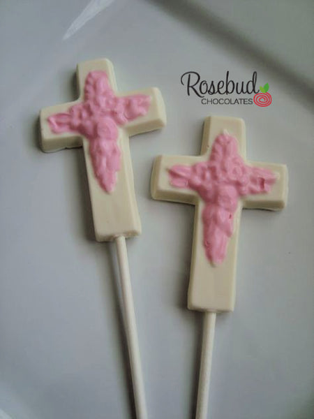 12 CROSS Chocolate Lollipops Religious Candy Party Favors