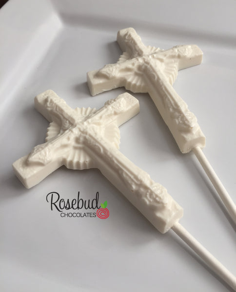 12 CROSS Large Chocolate Lollipop Religious Candy Party Favors