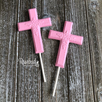 12 CROSS Large Floral Chocolate Lollipop Religious Candy Party Favors