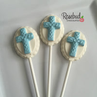 12 CROSS Chocolate Oval Lollipops Religious Candy Party Favors