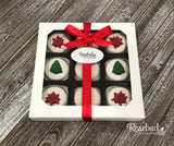 9 Piece White Gift Box Chocolate Covered Oreo Cookies POINSETTIA & CHRISTMAS TREE