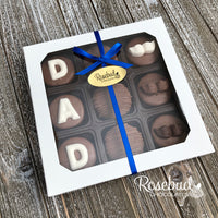 """DAD"" - Chocolate Covered Oreo Cookies MUSTACHE - 9 Piece White Gift Box Father's Day"
