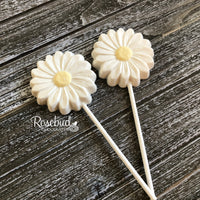 12 DAISY Chocolate Lollipop Candy Party Favors Flowers