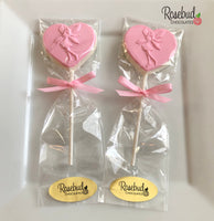 12 FAIRY Heart Shaped Chocolate Lollipop Candy Party Favors