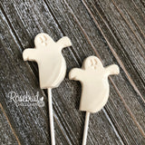 12 GHOST Chocolate Lollipops Happy Halloween Candy Party Favors BOO Tag