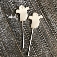 12 GHOST White Chocolate Lollipop Halloween Candy Party Favors