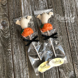 12 GHOST & PUMPKIN Chocolate Lollipop Halloween Candy Party Favors