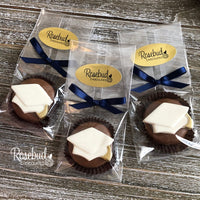 12 GRADUATION CAP with GOLD TASSEL Chocolate Covered Oreo Cookie Candy Party Favors