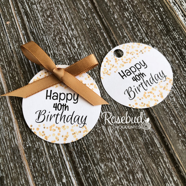 "FAVOR TAG ""Happy 40th Birthday"" White Cardstock Party Favor Tags"
